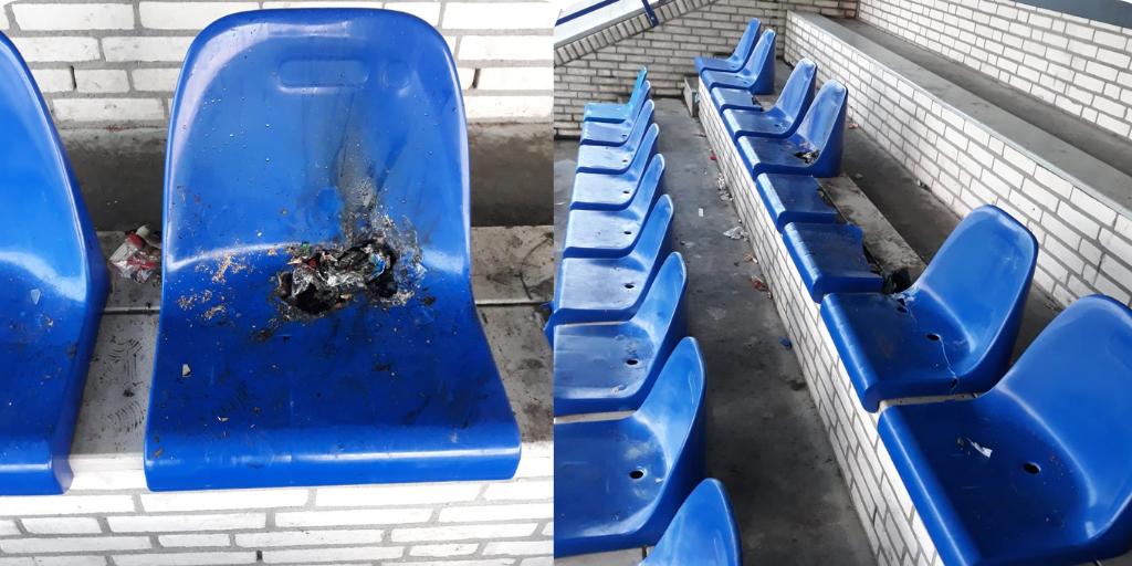 Vandalen laten spoor van vernieling achter op sportpark